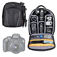 DURAGADGET Black & Grey Backpack - Suitable For Canon EOS 2000D| 400D| M50| 1300D| 1200D| 1100D| 750D| 700D| 650D| 600D| 550D| 350D| 100D| 70D| 60D| 7D| 6D| 5D| Kiss X50 & SX510 HS