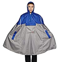 Icegrey Adult Rain Poncho Unisex Emergency Rainwear With Matching Pouch Long Reflective Stripe Blue 3XL