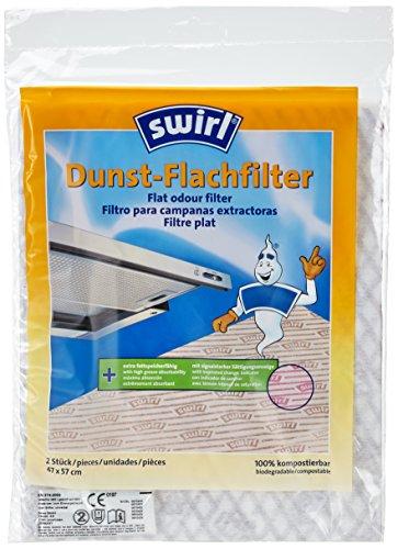 Swirl Dunst-Flachfilter für Flachhauben inkl. Einweghandschuhe, Signalstarke Sättigungsanzeige, 2er Pack, Je 2 Stück 47 x 57 cm