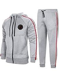 Adidas Survetement Coton a Capuche Noir et Vert,sweat homme