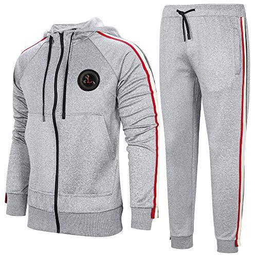 AOTORR Survêtement Homme Ensemble Sweat-Shirt à Capuche et Pantalon de Sport Jogging Gris Claire S