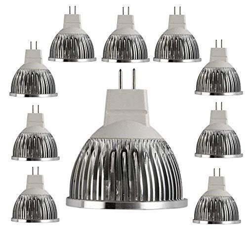 (LED MR16 Bulbs 4W 3000K - Aluminium 400 Lumen LED Birne Leuchtmittel AC DC 12V Ersetzt 35W Halogen Lampen 10er Pack Warmweiß [Energieklasse A+],VHFIStj)