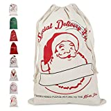 Enjoygoeu Weihnachtsmann Sack Groß Santa Sack Weihnachtssack Nikolaussack Gabensack Weihnachtsdekoration Weihnachtssack Jute Geschenkbeutel Weihnachten für Kinder (White Santa)