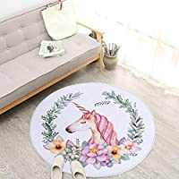 htrdjhrjy Superb Cute Unicorn Rugs Children Room Home Decoration Doormat Accent for Living Room Bedroom Kitchen Modern Non-Slip Rugs for Decoration