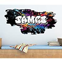 Personalised Graffiti Paint Splat Brick & Name Wall art Sticker 95cm (w) x 46cm (h) ,TR46