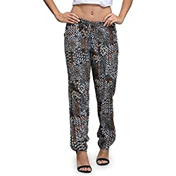 The Gud Look Women's Black Miscellaneous Print Straight Pant (10004828, Multi Colour, 34)