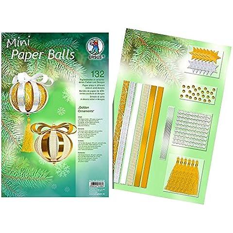 Ursus 24120099 - Progettazione bande del mini palle di carta d'oro Ornamenti