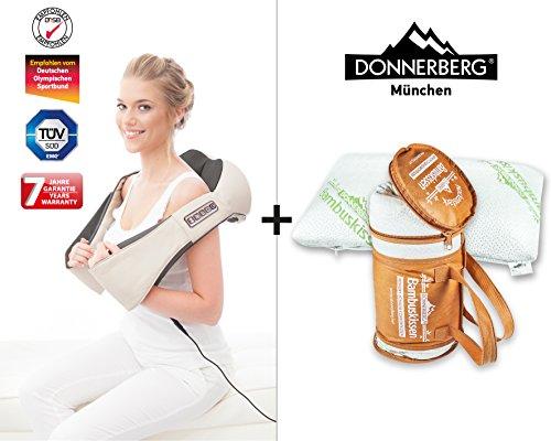 Nackenmassagegerät DAS Original Donnerberg® Set Massage Shiatsu Bambuskissen (Schlaf-massage-stuhl)