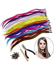 Kit d'extension de cheveux HQdeal Feather avec 52 plumes synthétiques, 100 perles, pinces et crochets (couleurs mixtes)