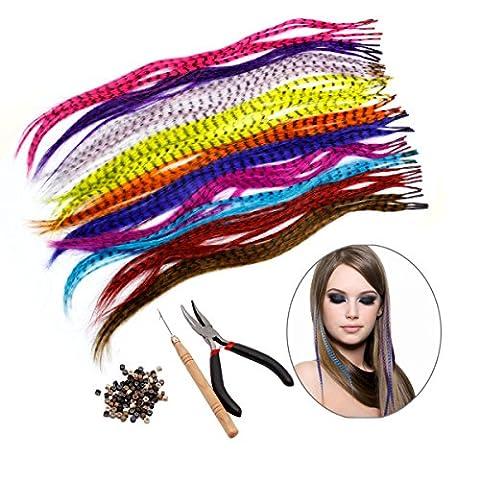 Kit d'extension de cheveux HQdeal Feather avec 52 plumes synthétiques, 100 perles, pinces et crochets (couleurs