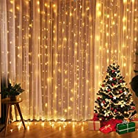Fenvella Fairy Festoon, 8 Modes Curtain Strips Icicle String Lights for Party Indoor Outdoor Room Garden Wall Wedding Christmas Xmas Decorations x 9.84ft, 300 LEDs, Warm White