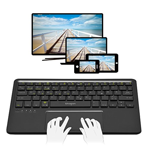 Teclado 4 en 1 Bluetooth para Smart TV Tablet Smartphone | Uso con 5 dispositivos al mismo tiempo | Android, iOS/Mac OS X, Windows 8 & 10 | Teclado inalámbrico con Multi-Gesture Touchpad | QWERTZ alemán