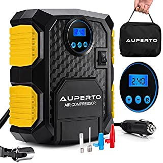 Tyre Inflator - AUPERTO Digital Air Compressor with LED Light,Portable Car Pump - 150 PSI,3M Cord and 3 Valve Adapters(Warranty)