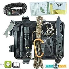 Idea Regalo - Kit Sopravvivenza Militare Professionale di Terza Generazione Emergenza Montagna Trekking Escursionismo Outdoor 11 in 1 Torcia Bracciale Paracord Tattico Multiuso Acciarino Coltello Campeggio Scout