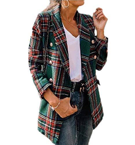 Hibasing Chaqueta a Cuadros Estilo Vintage para Mujer Blazer Estampado de Leopardo Cruzado