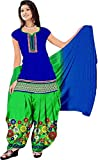 Soru Fashion Women's Cotton Embroidered Patiala Salwar Suit Dress Material(1022_Blue & Light Green)