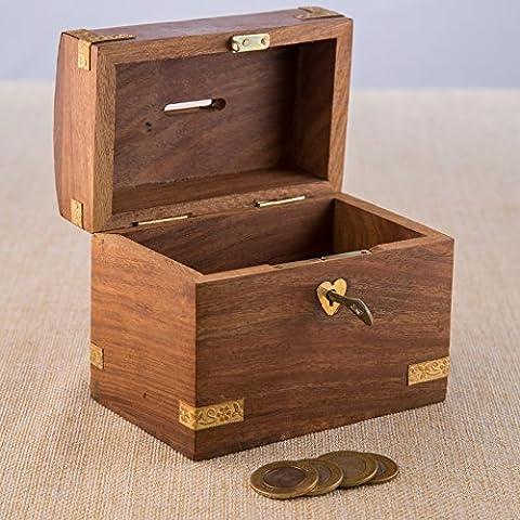 rusticity Holz Coin Bank für Kinder und Erwachsene–Schatztruhe Design | handgefertigt | (13,3x 8,3cm)