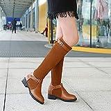 Phy Shoe Herbst und Winter Europäische und amerikanische Mode Wilde hohe Stiefel flach mit farblich passenden Ritterstiefeln Damenstiefel in Übergröße, Hellbraun, 37