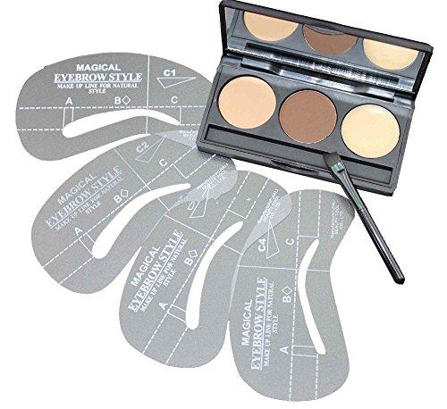 Augenbrauen Pulver Kit Brown-DiChi 3 Farbe Augenbrauen Palette Make-up Schattierung Kit mit abgewinkelten Pinsel & Spiegel und 4 Stück Augenbrauen Schablonen
