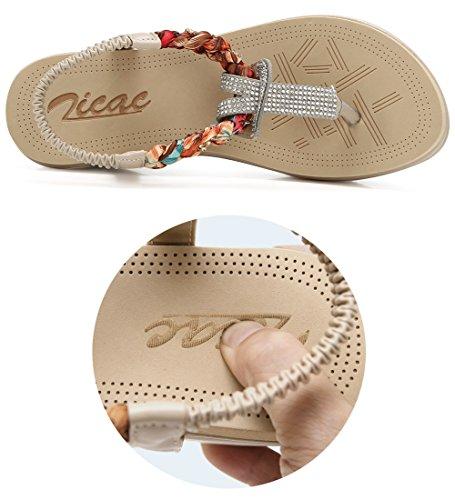 Zicac Damen Sandalen Böhmischer Stil 5 cm Absätz Schuhe Sommer Sandalen Antirutsch Komfortabel Frauen Flip Flops Schuhe Aprikose