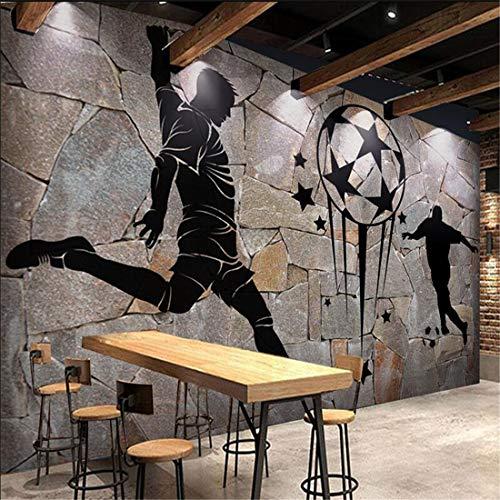 Benutzerdefinierte 3D Fototapete Retro Nostalgie Fußball Stein Korn 3D Bar KTV Werkzeugraum Wand Dekor Wandbild, 400 * 280 cm - Ozean-blau-korn