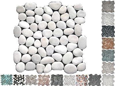 1 Netz Flusssteine Rund Weiss Riverstone von Mosaikdiscount24 auf TapetenShop