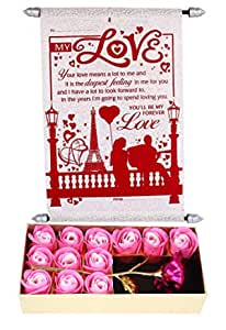 Saugat Traders Gift for Girlfriend Love Birthday Special - Artificial Pink Rose with 12Pcs Scented Roses Box & Love Scroll Card