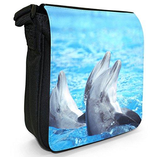 Delfini piccolo nero Tela Borsa a tracolla, taglia S Dolphins Playing In Water