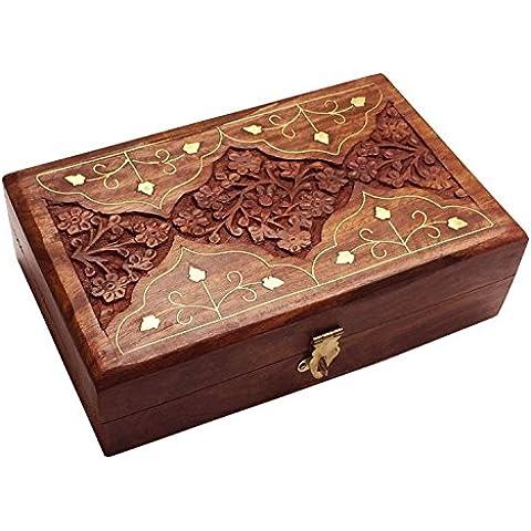 Caja de joyería de madera, caja de almacenaje con el trabajo de tallado (8X5), la caja de la vendimia, Regalo de la donación o de la Navidad de las gracias