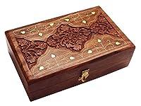 Regalos especiales en el Viernes Santo.Caja de joyería de madera, caja de almacenaje con el trabajo de tallado (6X4) VintageBox, Regalo de San Valentín el día especial