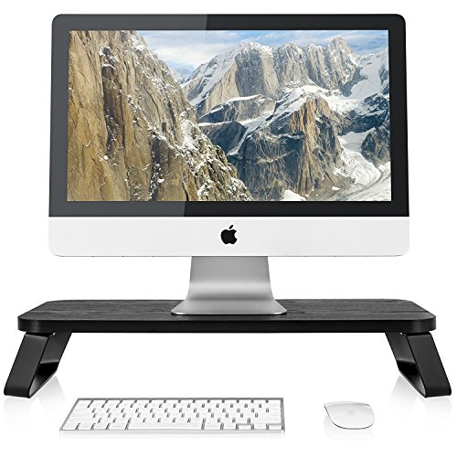 Fitueyes Wood Monitor Stand Screen Riser for Computer Laptop PC tv 60 x 28 cm black DT106009WB