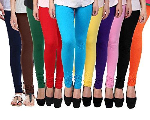 Klugger Women\'s Cotton Lycra Strechable Churidar Leggings Combo (Pack of 10)-Free Size