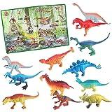 deAO Dinosaurios de Juguete Figuras de la Prehistoria Set de 12 Dinosaurios Conjunto Incluye Poster de la Era Jurásica