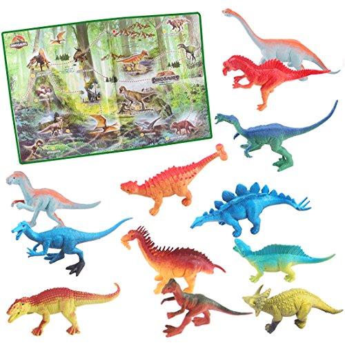 (deAO Jurassic Park, Dinosaurier-Spielset- Prehistorische Figuren, Lieferumfang enthält 12 Realistische Dinosaurier und Poster)
