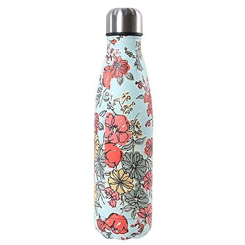 Bottiglia con doppio strato in acciaio inox,portatile BPA free bottle,viaggio per sport senza perdite costruita per non far formare condensa puoi bere sia bevande calde che fredde 17oz,Colorful Flower
