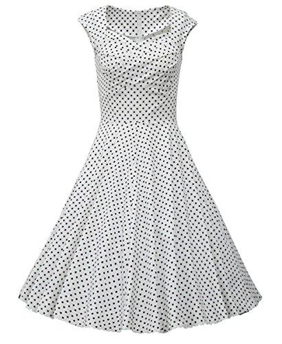 Dissa M113318D Robe de bal Vintage pin-up 50's Rockabilly robe de soirée cocktail,S-XXL Blanc