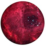 Gaming Mouse Pad Natural Galaxy Starry Sky Red Background Office Desktop Rubber Non-Slip Round Mouse Mat 9.8 X 11.8
