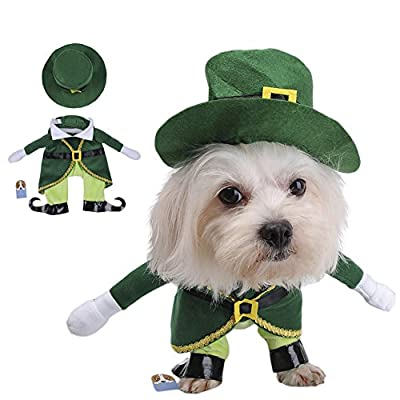 Awhao Fairy Prince Costume Set Green Hat with Clothes Apparel for Small Medium Pet Dog Cat
