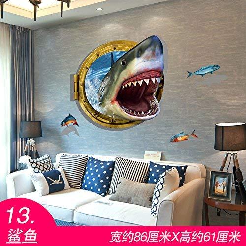 Moderne Hyun-Weg 3 die 3-dimensionale Wall Sticker Schlafsaal Hintergrund Wallpaper Wallpaper Selbstklebende dekorative Wand Poster Tür Aufkleber wasserdicht und Haie. - Weg Wallpaper