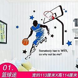 HCCY Boys Hostel dormitorio de baloncesto de la NBA autoadhesivo papel tapiz papel tapiz dormitorio poster pegatina habitaciones pintura decoraciones planteados
