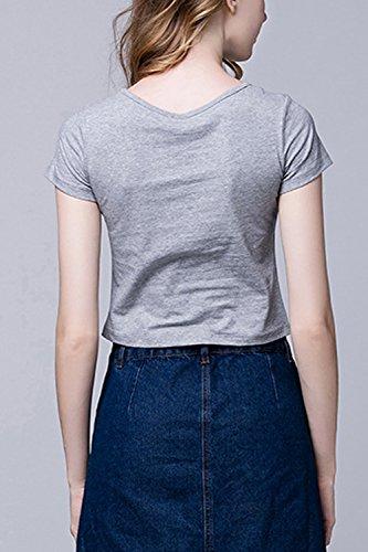 Frauen, Die Im Sommer Einfach Kurze Ärmel Scoop Hals Pflanzliche Top - T Shirt Bluse Grey