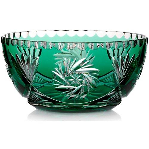 Exklusive Schale Obstschale Salatschüssel Victoria Grün Handgeschliffen D 18 cm Kristallglas - D 18 Grün