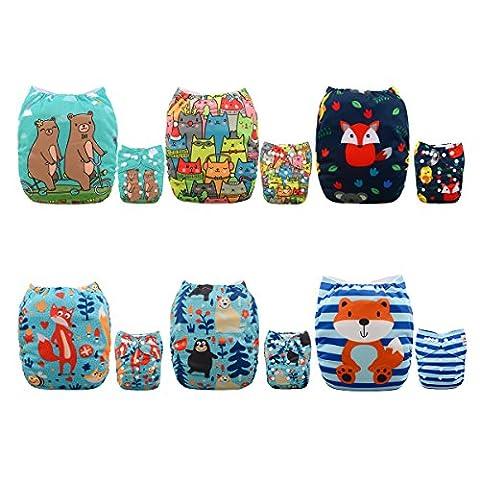 Alva Baby 6Pack Tasche waschbar Verstellbare Stoffwindeln Windeln + 12Einsätze (Metallic One Pocket)