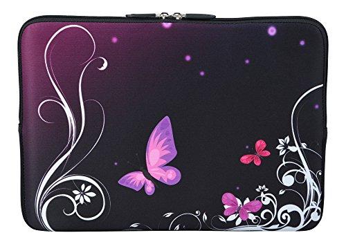 MySleeveDesign Laptoptasche Notebooktasche Sleeve für 10,2 Zoll / 11,6-12,1 Zoll / 13,3 Zoll / 14 Zoll / 15,6 Zoll / 17,3 Zoll - Neopren Schutzhülle mit VERSCH. Designs - Butterfly Light [15]