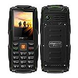 VKworld Elderly Mobile Phone, V3 IP68 Waterproof, Triple Sim Triple Standly 2G 3000mAh Battery 2MP Camera,64MB+64MB FM Radio,Box Speaker Unlockedcell Phone for the Elderly - Green