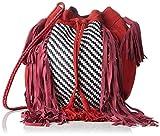 Antik Batik Damen Massaa Schultertaschen, Rot, 16x22x21 cm