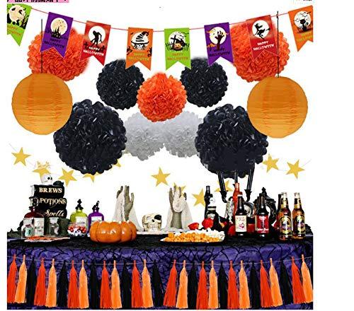 HANJIAJKL 27 Alles Gute zum Geburtstagdekorationen für Mädchen und Frauen/Flaggenpapierblumen/für Halloween, Party