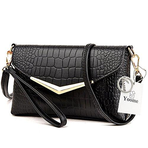 Yoome Flap Bag Crocodile Pattern Große Kapazität Umschlag Taschen Für Frauen Mädchen Taschen Für Teens - Creme Schwarz