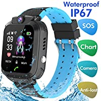 Jaybest Kids SmartWatch Waterproof, Touch Screen Mobile Smart Watches Phone for 3-13 Year Old Girls Boys, SOS Call Anti-Lost Sim Card Smartwatch with Camera, Game for Children Gift(black)