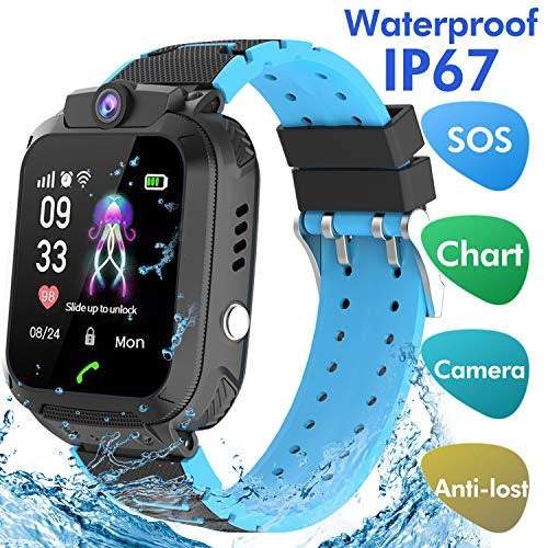 Reloj Inteligente Smartwatch para niños, rastreador de ubicación LBS, Reloj del teléfono, Reloj de cámara, Chat de Voz, Llamadas telefónicas(Negro)